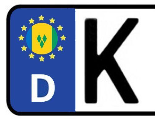 4x Kennzeichen Aufkleber Nummernschild ST VINCENT /& DIE GRENADINEN Sticker