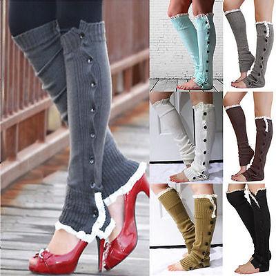 LEG WARMERS Crochet Lace Trim Button Down Knit Boot Socks Knee High
