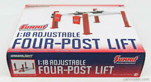 GREENLIGHT 12884 12888 Adjustable four post lift diecast model blue red 1:18th