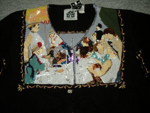 bateau sequins Renoir de rare Cardigan de à la 2x Knits Sz déjeuner fête Storybook Nwt EwHnZ8qPZ1