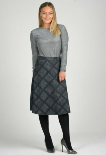 Ladies Grey Cotton Blend Skirt Knee Length Midi Patterned Evening Formal Wear