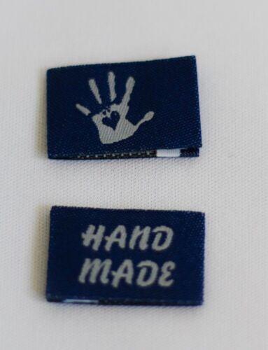 10 Handmade Webetiketten Labels Handmade with Love in blau//weiss Stofflabel
