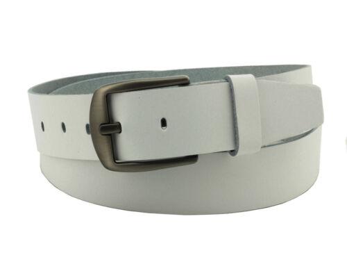 Damen Herren weiße Ledergürtel 4cm breit cirmini 100/% echte Leder gürtel