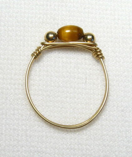 Handtied Wire Gemstone Rings Gold Size 8.5