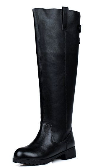Women Black Leather Knee High Riding Boots With Dual Buckles