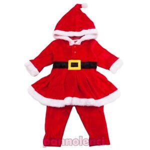 Completo-Bambina-bimba-vestitino-cappuccio-Babbo-Natale-pantaloni-nuovo-FC191