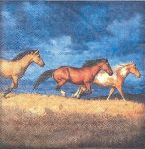 2-Serviettes-en-papier-Cocktail-Chevaux-Decoupage-Paper-Napkins-Running-Horses