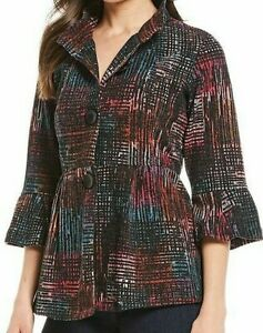 Ali Miles Plus Texture Knit 3//4 Sleeve Peplum Jacket Red 1X NWT