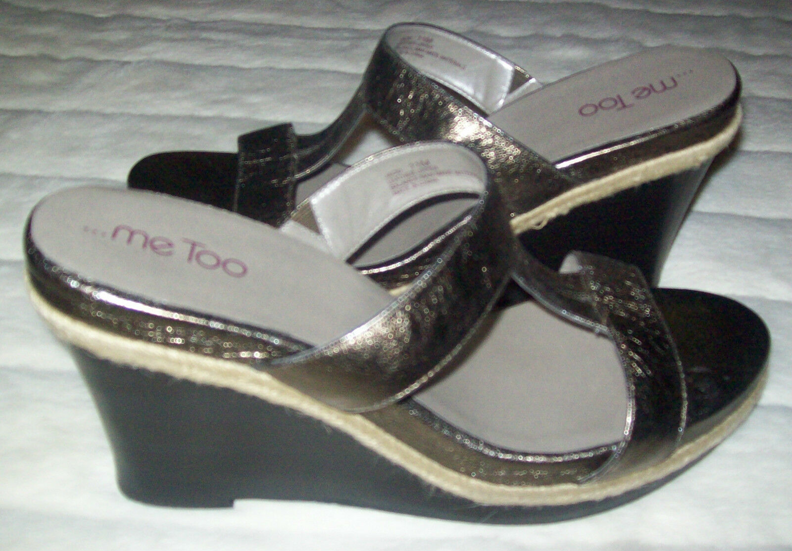 ME TOO  PEWTER  METALLIC  JACKI JACKI JACKI  LEATHER  WEDGE SIZE 11 M NEW e5c597