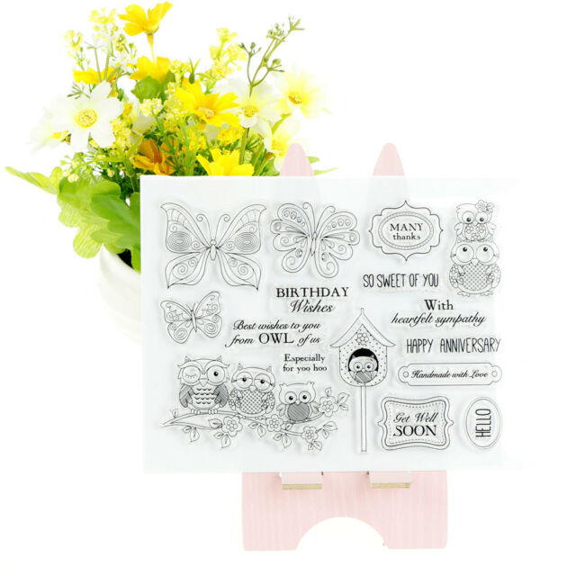 Transparent Clear Silicone Stamps owl for DIY Scrapbooking Card Making CA