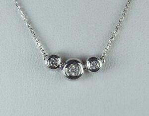 $1995 14K White Gold 3 Round Bezel Set .30ct Diamond Pendant 16 Chain Necklace