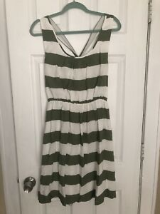Womens-BANANA-REPUBLIC-Heritage-Green-White-Stripe-Casual-Belted-Dress-Sz-6