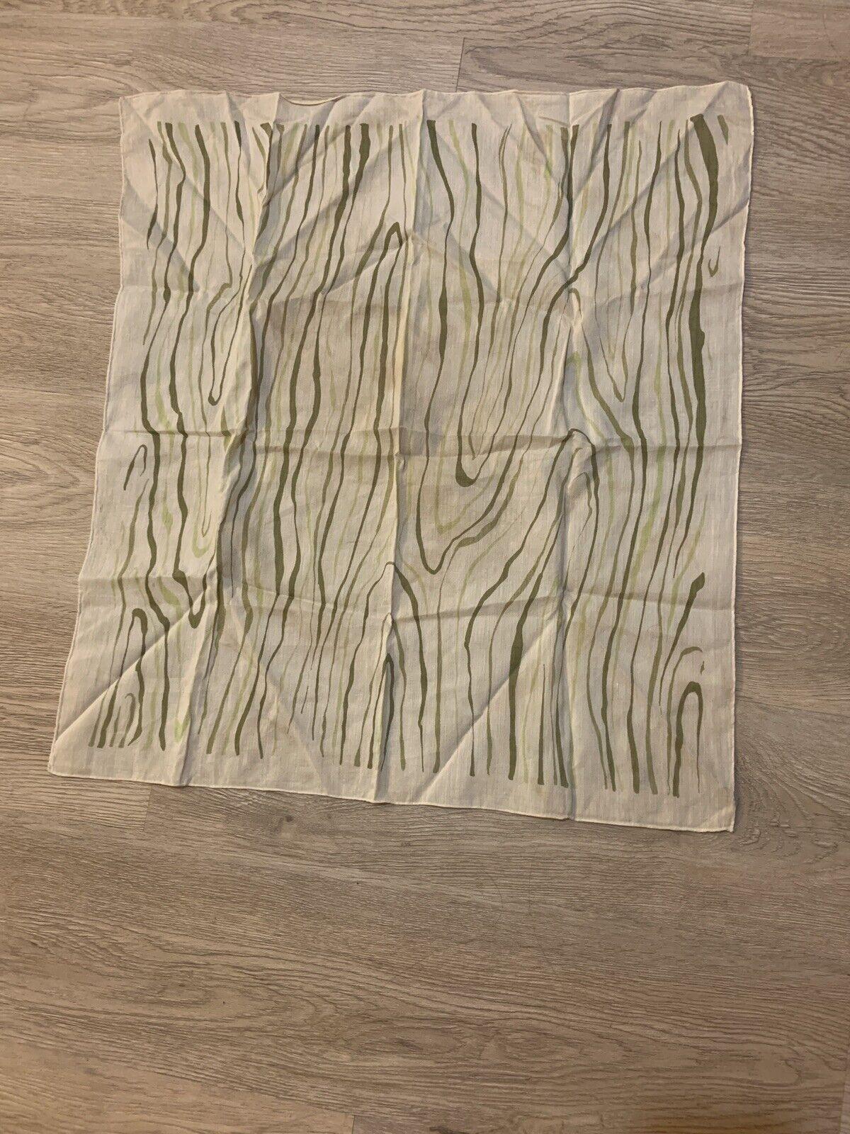 1940's Silk Scarf Greens Wood Grain Print VINTAGE - image 10