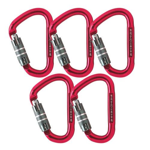 Fusion Climb Eureka Aluminum Triple Lock Pear Shape Carabiner 5-Pack