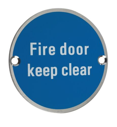 Sign Fire Door Keep Clear Satin Stainless Steel