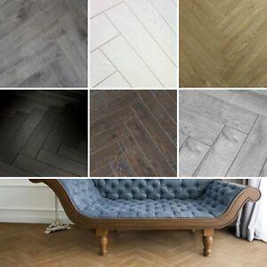 Image Is Loading Herringbone 12mm Laminate Flooring Textured Oak Walnut Black