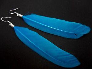 Un-par-de-Pendientes-Colgantes-de-plumas-largo-azul-con-plata-maciza-925-ganchos