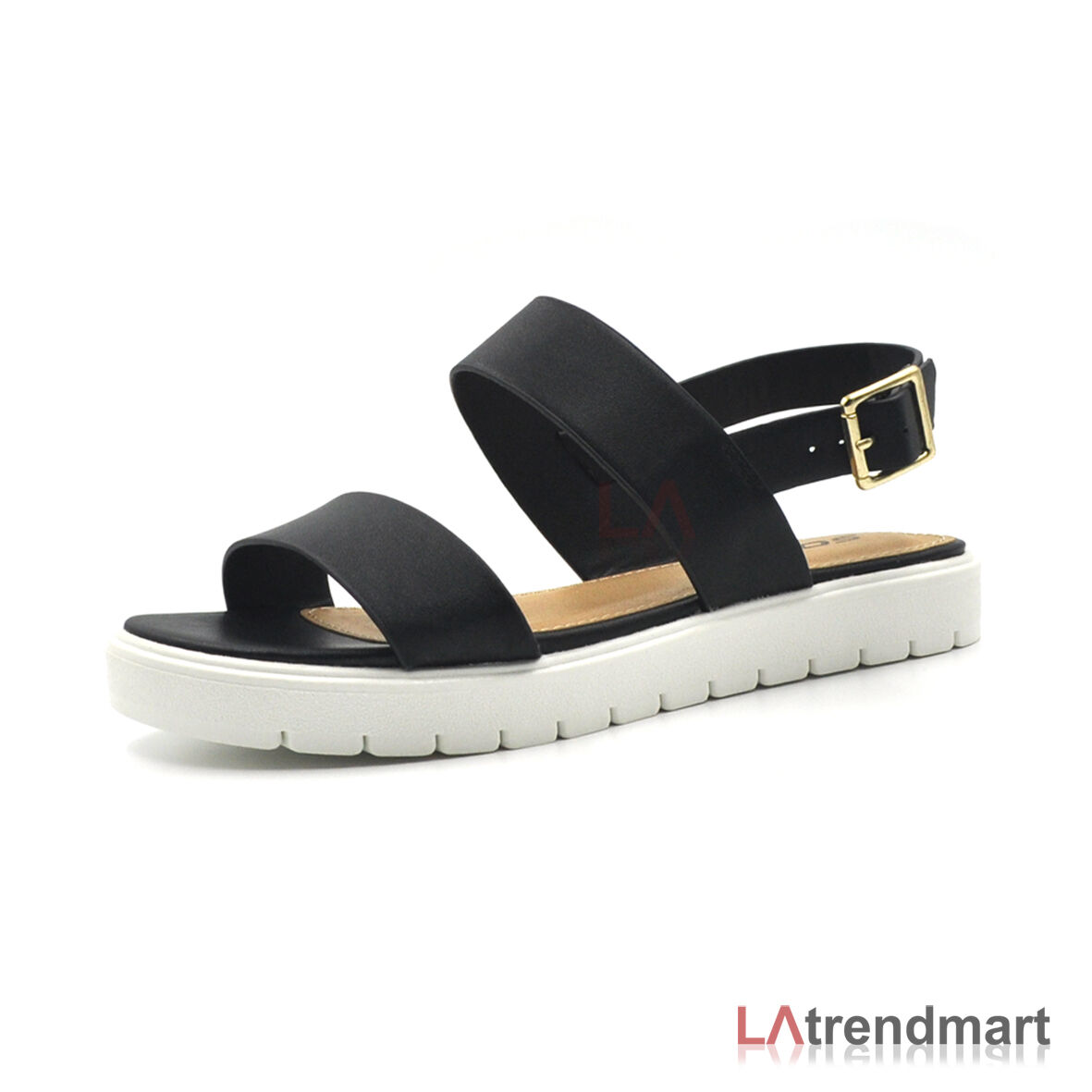 1fabf508e Hot Women Open Toe Sandals Slingback Flat Casual Ankle Buckle Strap SODA  Juniper Tan 8