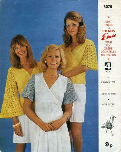 Emu 3070 Lady Tops 4ply 32-40in Vintage Knitting Pattern