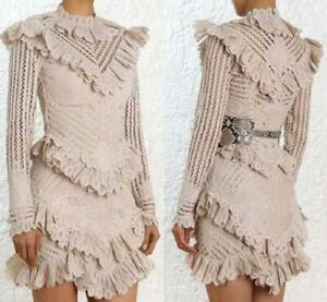 Womens-Lace-Splice-Falbala-Long-Sleeve-Mid-Waist-Slim-Fit-Zip-Casual-Short-Dress