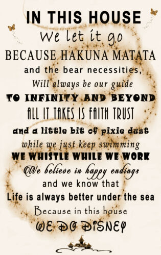 Cream We Do Disney In This House Quote on CANVAS WALL ART Picture Print Sepia