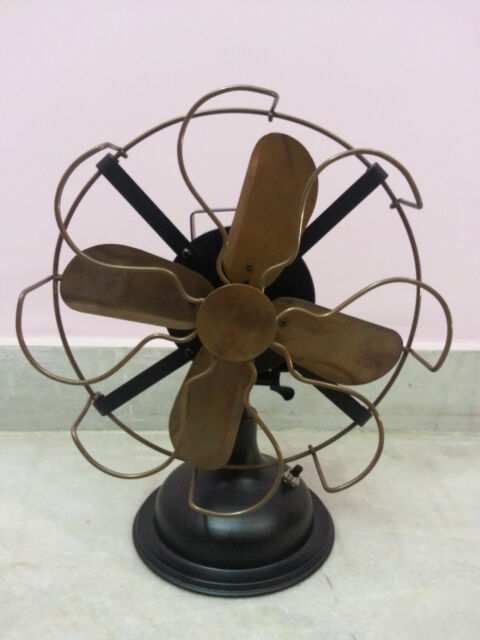 Antique Oscillating Table Fan in Brass Copy of Starting Edtion Fans Made in 1886