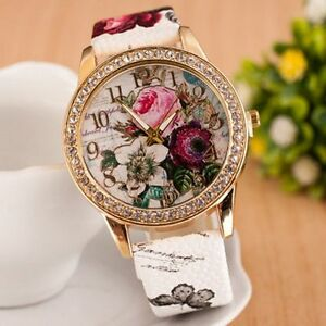 New Ladies Women's Flower Dial Leather Stainless Steel Analog Quartz Wrist Watch