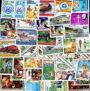 CENTRAFRIQUE collections de 25 à 600 timbres différents