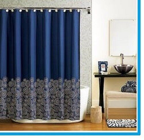 Fabric Navy Blue Shower Curtain