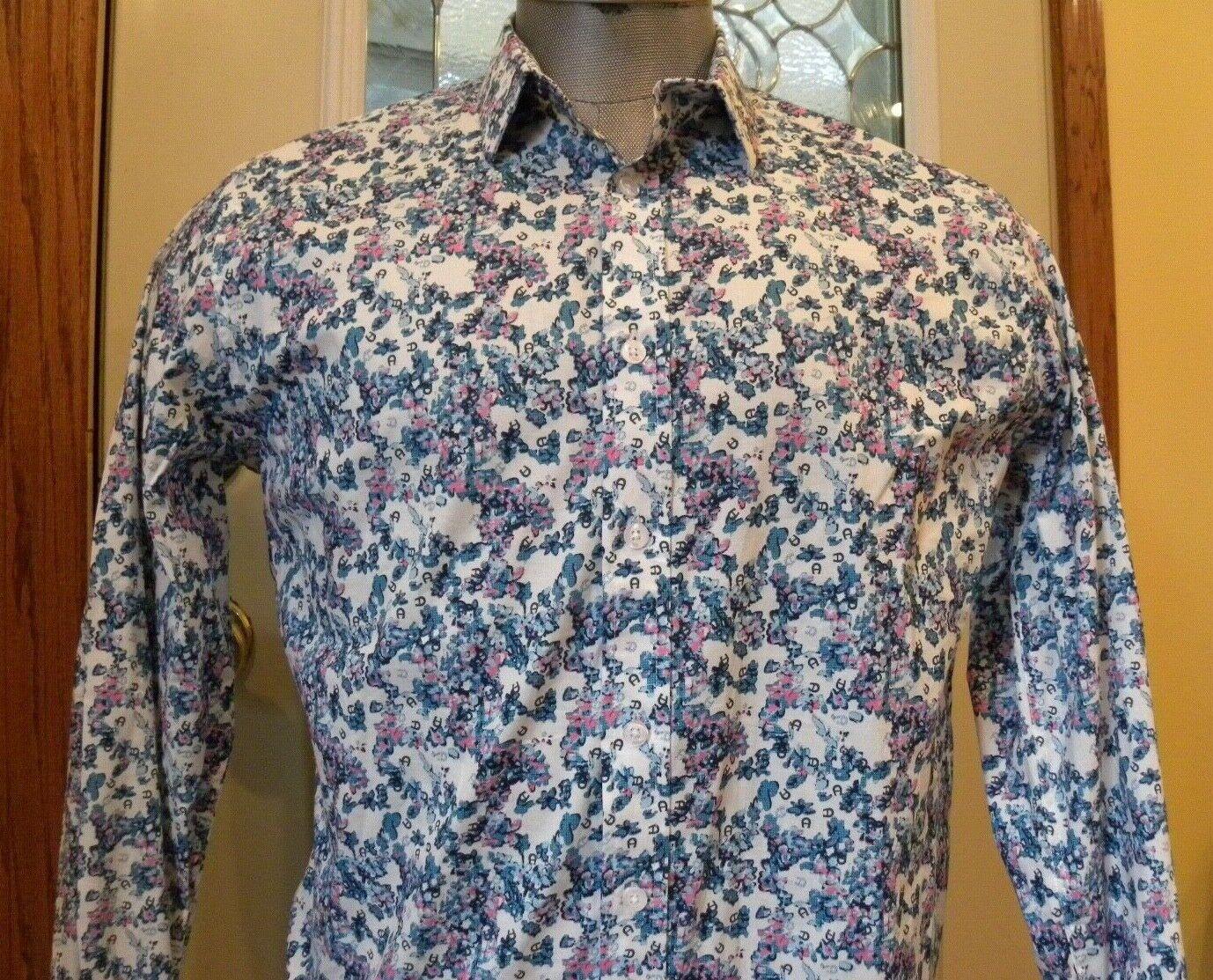 Duchamp L S Abotonado Azul blancoo Floral Con Cierre  Magnético Brazalete Calce Ajustado Camisa para hombre Sz16 L-42  ventas en linea