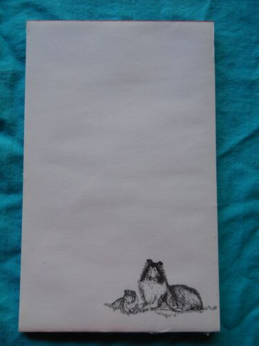 Collie Mom /& Puppy 3 Notepads 50 Sheets 8.5 x 5.5 New Black /& White Drawing New