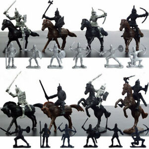 28PCS-New-Medieval-Knights-Warriors-Horses-Soldiers-Figures-Model