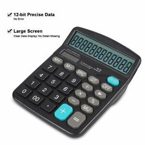 12-Digit-Desk-Calculator-Large-Buttons-Solar-Desktop-Battery-Office-UK-seller