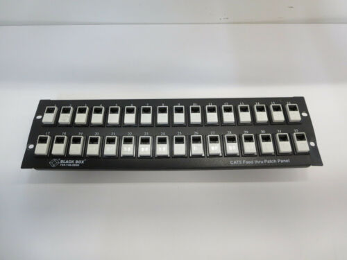 JPM802A FEED-THROUGH CAT-5 UNSHIELDED 32 PORT PATCH PANEL BLACKBOX USED