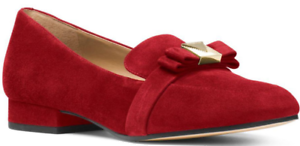 120-size-7-5-Michael-Kors-Caroline-Maroon-Suede-Loafers-Womens-Dress-Shoes