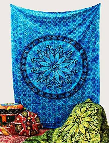 Blue Floral Bohemian Elephant Decorative Tapestry Hippie Living Room Decor