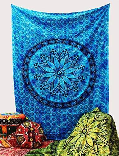 Blue Floral Bohemian Elephant Decorative Tapestry Hippie Living Room Decor