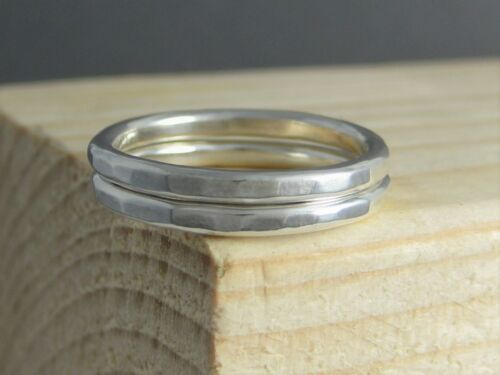 Set of Two 2mm Sterling Silver Hammered//Textured Stacking Rings H-Z Handmade UK
