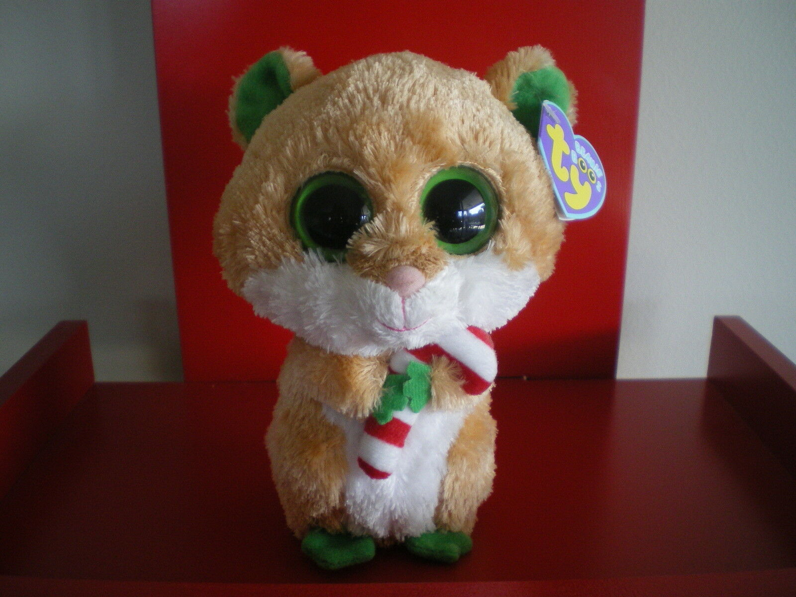 Ty Beanie Boos CANDY CANE hamster 6  inch NWMT. RETIROT & AND VERY HARD TO FIND.