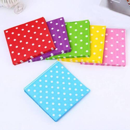 20Pcs//Set 33cm Paper Napkins Polka Dot Tableware Party Decorations