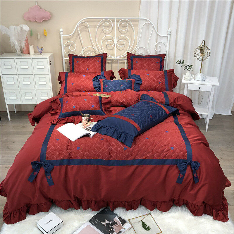 100%Egyptian Cotton Red bluee Bedding Set Queen King Bowknot Flat Fitted Sheet