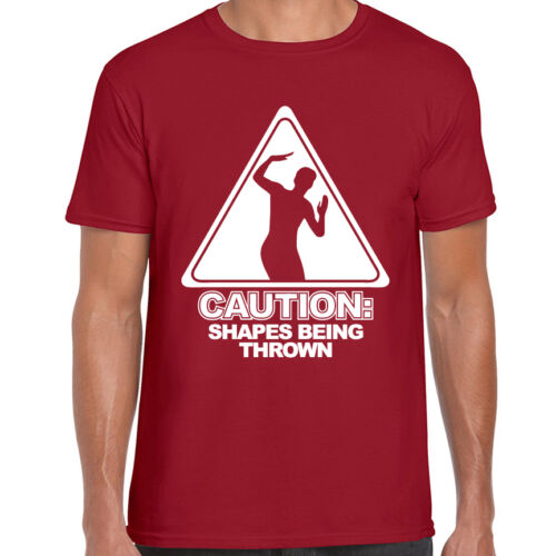 CAUTION SHAPES BEING THROWN PRINTED MENS T SHIRT RAVE EDM CLUB DANCE MUSIC FUNNY