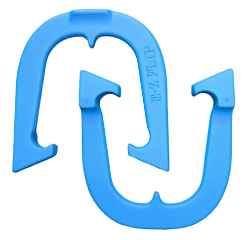 E-Z Flip Pro Professional Pitching Horseshoes Made in USA Blue One Pair