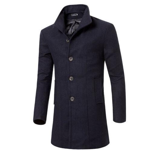 Men/'s Jacket Coat Winter Trench Long Overcoat Warm Wool Fashion Casual Outwear