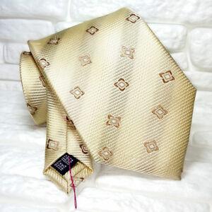 Cravatta Beige Geometrica Jacquard Top Quality NovitÀ Marchio Tre In Seta Made I Les Produits Sont Disponibles Sans Restriction
