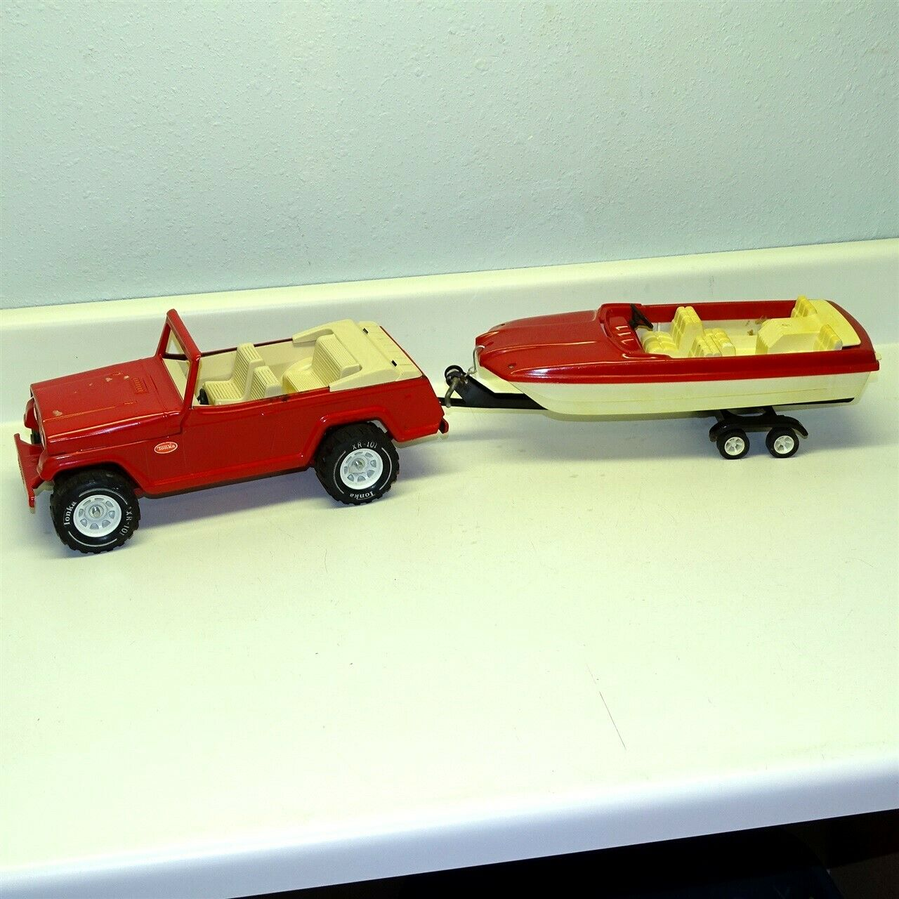 Vintage Tonka Red Jeepster Runabout Boat, Trailer, Truck, Pressed Steel Toy