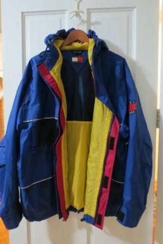 Vintage TOMMY HILFIGER BLUE HOODED Jacket - MENs L