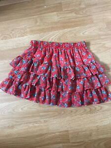 Forever-21-Juniors-Mini-Skirt-size-US-M-Tiered-Floral-Design-Sheer-Polyester-NEW