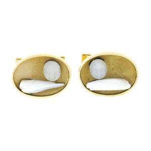 Vintage Men's 14k Gold Oval Matte Finish Carved Rock Crystal & Pearl Cuff Links