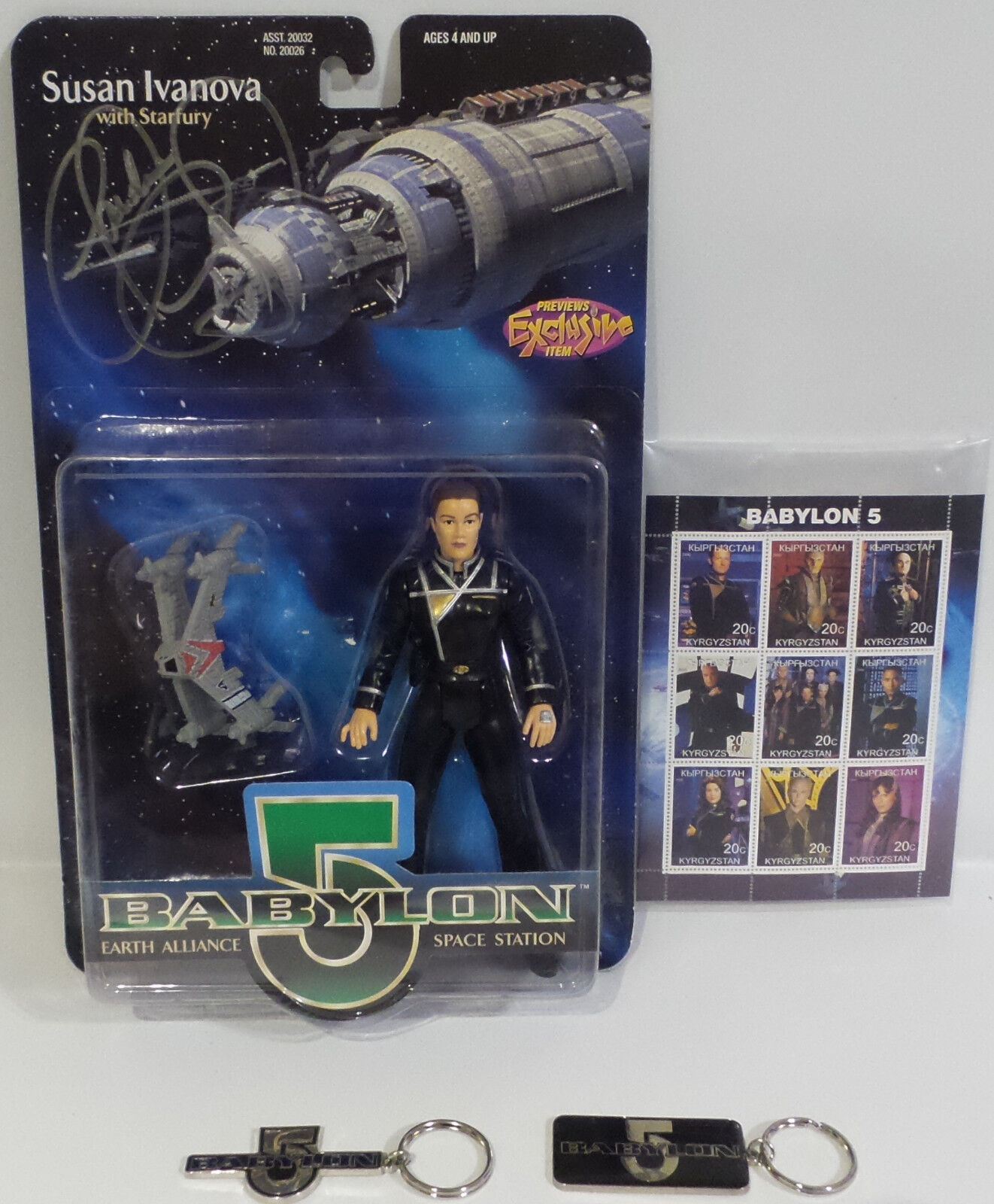 BABYLON 5 :  SUSAN IVANOVA ACTION FIGURE SIGNED BY CLAUDIA CHRISTIAN + KEY RINGS